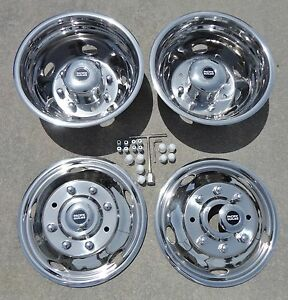"""FORD F450 / F550 19.5"""" 1999 2000 2001 2002 Stainless Dually Wheel Simulators"""