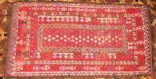 Antique Hand Woven Turkish Kilim Rug 7' x 3 1/2' from Karl Springer Ny