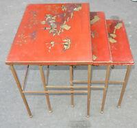1950/70 Tables Gigognes Maison Ramsay en Fer Doré Plateaux Avec Laque de Chine