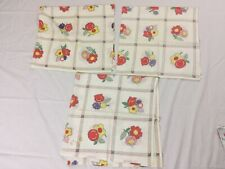 """Lot (3) Vintage Feedsack Feed Sack Fabric Pieces 36"""" X 36"""" Fruits Flowers"""