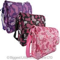 Girls Ladies Hearts Design Canvas Messenger Bag Cross Body Shoulder HI TEC