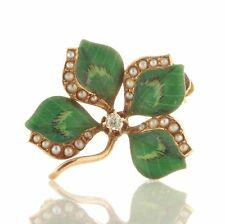 Antique Art Nouveau 14k Gold Enamel Diamond Pearl Clover Flower Pin 101916125