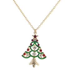 Lux Accessories Festive Holiday Christmas Tree Green Crystal Pendant Necklace