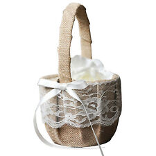 Vintage Retro Lace Bow Wedding Flower Girl Basket B4M7