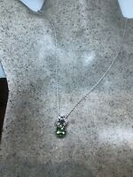 Vintage Green Peridot Deco Choker Necklace 925 Sterling Silver