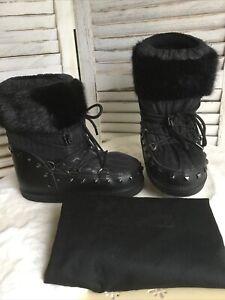 Karl Lagerfeld Schneestiefel Winter snow moon boots D. Gr. 38 schwarz Kunstfell