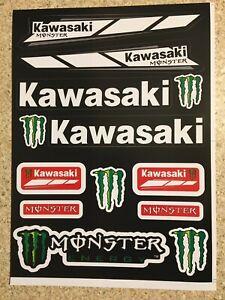 A4 Kawasaki 2 pack sticker sheet decals graphics stickers Motorcross Mx Monster