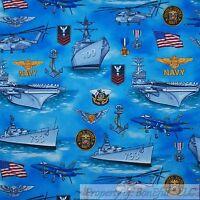 BonEful Fabric FQ Cotton Quilt Blue Ocean USA US NAVY Seal Boy Men Ship Military