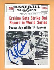 1961 Baseball Scoops autographed CARL ERSKINE card BROOKLYN DODGERS