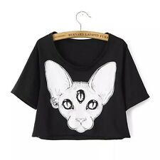 Kawaii Clothing Cute Harajuku Ropa T-Shirt Black Cat Gato Camiseta Punk Gothic
