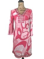 WHITE MARK COUTURE COLLECTION WOMEN'S SHEATH DRESS RETRO LOOK PINK & WHITE SZ S