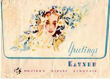 NICE Vintage KAYSER lined Envelope, GREETINGS, Hosiery, Gloves, Lingerie