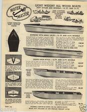 1949 PAPER AD Water Master Wood Wooden Boats V Bottom 12' 14' Models