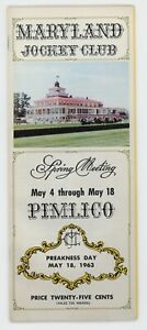 MAY 18, 1963PREAKNESS DAY PIMLICO HORSE RACING PROGRAM, BALTIMORE, MARYLAND