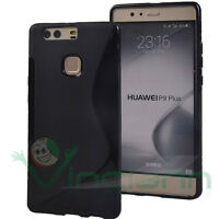 Pellicola+Custodia cover WAVE Nera per Huawei P9 Plus case TPU flessibile gel