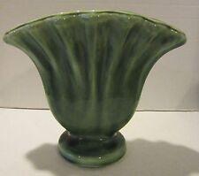 "Vintage heavy green glazed pottery vase 8"" high marked U.S.A.  EC"