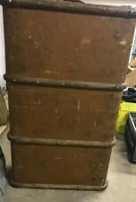 1930's BANDED STEAMER TRUNK Cabin luggage old storage chest Made In England
