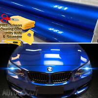 "36"" x 60"" Super Gloss Metallic Blue Vinyl Film Wrap Air Bubble Free 3ft x 5ft"