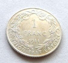BELGIUM 1 FRANC 1911, ALBERT I, .835 SILVER, FRENCH TEXT. AUNC LUSTROUS. KM//72