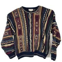 Vtg Murano Chunky Knit Cosby Sweater Men's Size L Biggie Hip Hop Coogi Style