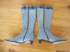 Vintage Jean Denim Knee Boots Vero Guolo Made In Itlay Size 37 Levi Strauss