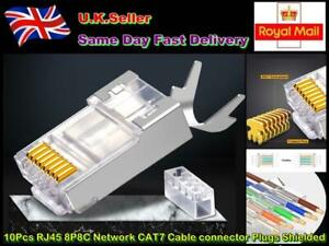 10Pcs RJ45 8P8C Network CAT6A/CAT7 Cable connector Plugs Shielded