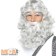 Grey Zeus Wig & Beard Mens Greek God Fancy Dress Adults Roman Costume Accessory