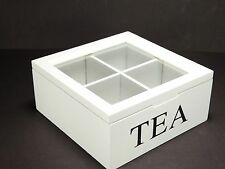 Vintage Style White Wooden Tea Storage Box  4 Compartments