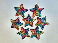 5x Aufbügler Pailetten Sterne Patches Applikationen Glitzer Jungen Mädchen