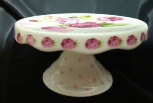 Grace Tea Ware Shabby Chic Rose Flowers Porcelain Pedestal Cupcake Stand Holder
