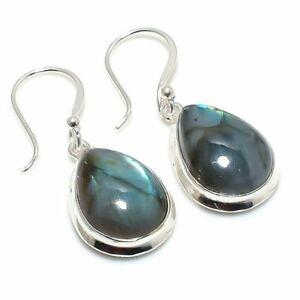 "Labradorite Gemstone Handmade 925 Sterling Silver Jewelry Earring 1.50 "" j591"