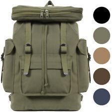 European Rucksack Canvas Backpack German Type Knapsack Army Military School Bag