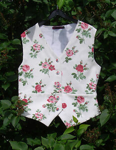 Ladies steampunk waistcoat red roses vintage fabric lined pockets UK12-14 S/M