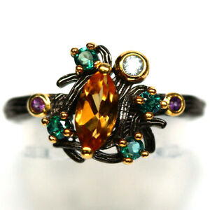 NATURAL 4 X 8 mm. GOLDEN YELLOW CITRINE & CZ RING 925 STERLING SILVER