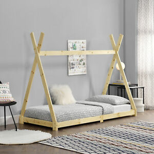 [en.casa] Kinderbett 90x200cm Tipi Indianer Bett Hausbett Kinder Holz Kiefer