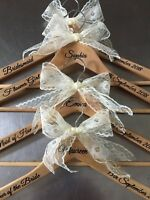 Personalised Wedding Dress Hangers Set of 7 Bridal/Bridesmaid/Gift/Wooden/Prom