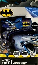 Batman DC Comics Full Size Bed Sheet Set 4 piece Bedding