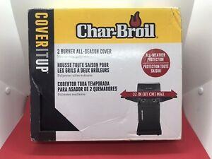 "New Char Broil All-Season Heavy Duty Gas Grill Cover BBQ - 2 Burner, Black,32"""