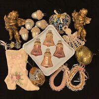 Lot of 19 Assorted Pink Victorian Christmas Ornaments Krebs Silvestri Kurt Adler