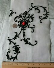 "Antique Vintage Swiss Scrolly Black Embroidery On Batiste Fabric c1930~43""X 8"""