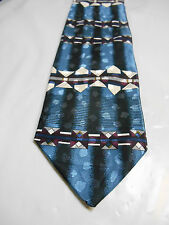 Florence and K Inc. Blue Black Purple and White Geometric Polyester Necktie