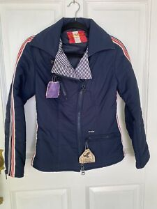 "Vintage Mod Anba Of Austria Ski Jacket, Women's Red White Navy Stripe Bust 32"""