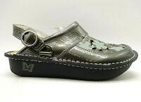 Alegria Metallic Olive Leather Floral Slip Resistant Mules Women's 38 / 8 - 8.5