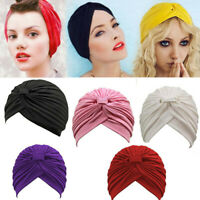 Lady Girl Stretchy Turban Head Wrap Band Chemo Bandana Hijab Pleated Indian Caps