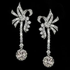 5.53CT BEAUTIFUL DROP DANGLE WOMEN DIAMOND EARRINGS IN 925 S STERLING SILVER