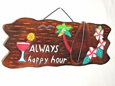 Always Happy Hour Tiki Bar Sign Carved Out Letters Wall Art Decor Bar Tropical