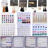 Chic Crystal Rhinestone Pearl Tassel Earrings Set Ear Stud Drop Jewelry Women