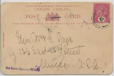 LM74186 Ceylon 1902 to USA elephant postcard with nice cancels used