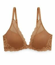 NEW NATORI 'Feathers' Contour Plunge Bra Cinnamon Brown Size 32 D $68