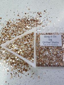 Nail Art Mixed Glitter (Bling It On)10g Bag Chunky Metallic Gold White Dots
